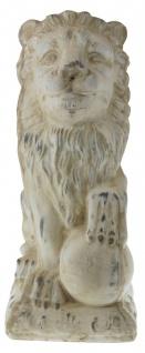 Schöne Dekofigur sitzender Löwe mit Kugel, Skulptur, Statue, Tierfigur, 41, 5 cm