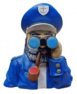 Deko-Figur Kapitän mit Fernglas maritime Gartenfigur Spanner für Innen und Außen