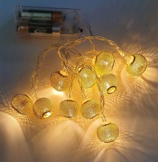 LED-Lichterkette mit 10 Kugeln in Goldoptik warmweiß Batteriebetrieb NEU - Vorschau 2