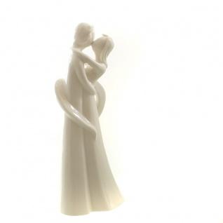 Porzellan Figur Liebespaar im Herz weiß glasiert Skulptur Hochzeit Verlobung