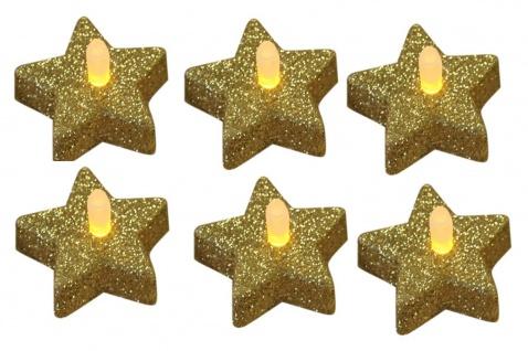 6er Set LED Teelichter Stern Glitzer gold Weihnachtsdekoration Tischdeko Flackereffekt flammenlos batteriebetrieben