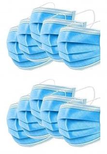 10 Stück Einweg-Gesichtsmasken 3-lagige Mund-Nasen-Bedeckung Maske blau