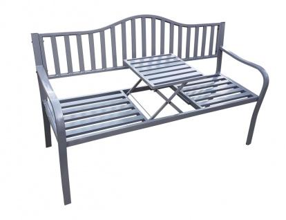 Gartenbank mit Klapp-Tisch 2in1 Metall 150x60x90 cm Parkbank 2-Sitzer 3-Sitzer