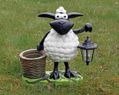 Deko-Schaf mit LED-Lampe und Pflanztopf, Dekofigur zum Bepflanzen, Tierfigur