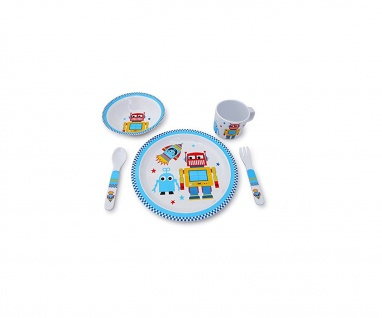 Kindergeschirr Roboter-Motiv 5-teilig BPA-frei Teller Becher Löffel Gabel Schale