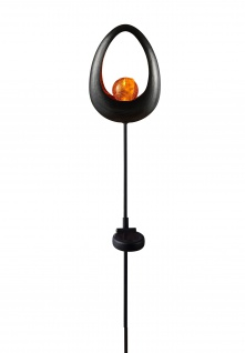 LED Solar Gartenstecker Metall Bruchglas Gartendeko Solarlampe Dekostecker oval