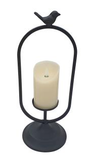 Laterne Metall schwarz oval mit Vogel und LED-Kerze Flackereffekt H 40 cm Deko
