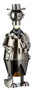 Flaschenhalter Weinflaschenhalter Metall Skulptur Gärtner Figur lustige Deko