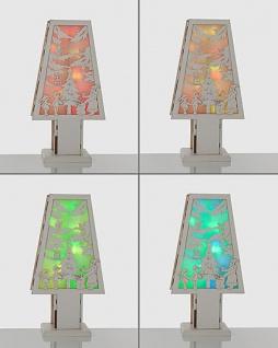 Schöne Tischdeko Weihnachtslandschaft Batterie Timer Holz LED Farbwechsel