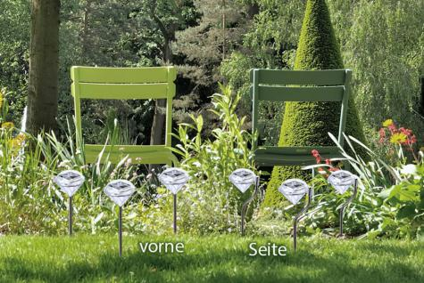 6er Set LED Solarlampe Kristall, Solarleuchte mit Erdspieß, Deko, Gartendeko