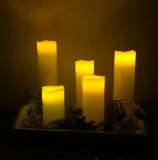 LED Kerzen 5 Stück Echtwachs creme flammenlos Batteriebetrieb verschiedene Höhe - Vorschau 2