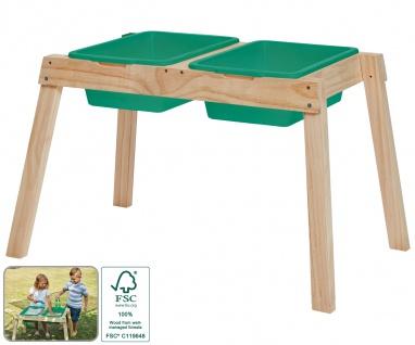 Matschtisch für Kinder Holz 2 Kunststoffeinsätze Garten-Spieltisch Sand Wasser
