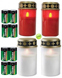 4er Set Grablichter rot und weiß, LED Kerze, Grabkerzen, inkl. Batterien