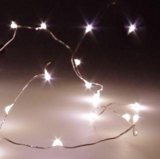 Micro LED Draht Lichterkette mit 20 LED´s, warmweiß, Batteriebetrieb (AA), Tischdeko