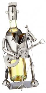 Flaschenhalter Weinflaschenhalter Gitarrist Metall Skulptur Figur Deko Geschenk