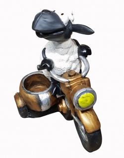 Deko-Schaf auf Motorrad mit Pflanztopf lustiges Schaf Gartendeko Dekofigur
