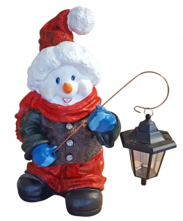Schneemann mit Strickmütze und Laterne LED Solar Dekofigur Weihnachten 52 cm
