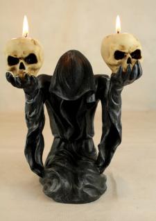 Deko-Figur Geist Umhang mit 2 Teelichtern und Totenköpfen Gothic Mystik Fantasy - Vorschau 4