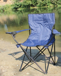 Faltstuhl Angler Campingstuhl mit Armlehne und Getränkehalter Angelstuhl blau