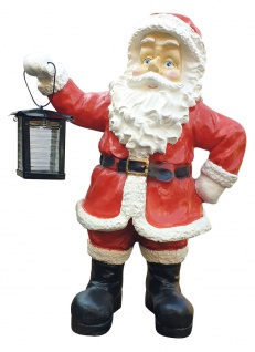 XL Weihnachtsmann mit Laterne Deko Figur Dekoration Weihnachten außen