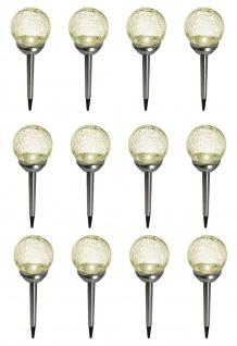12er Set Kristallglas Bruchglas Solarlampe LED Solar Edelstahl Gartenkugel Deko
