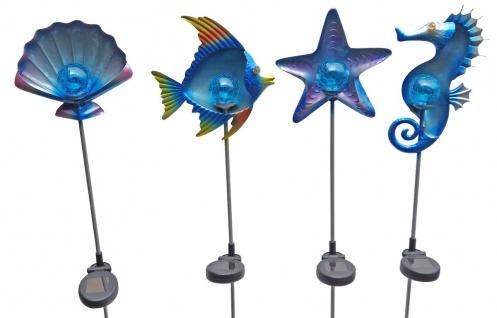 4 Stück Solar Gartenstecker Dekofiguren maritime Gartendeko LED Beleuchtung
