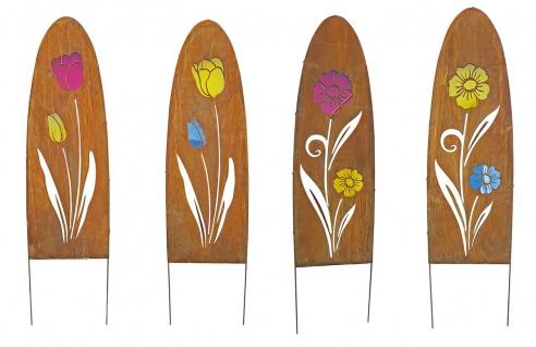 Gartenschild Metall oval Rostoptik Blumenmotiv Dekostele Gartenstecker Motivwahl