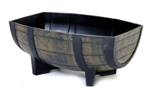 Pflanzkübel Fass Blumenkübel Weinfass-Optik Kunststoff halbiert 56x39x25 cm