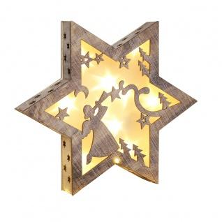 LED Holzstern Weihnachtsmotiv Engel Hologrammfolie 3D-Effekt LED-Lichterkette
