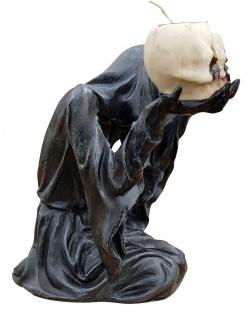Deko-Figur Geist Umhang mit 2 Teelichtern und Totenköpfen Gothic Mystik Fantasy - Vorschau 3
