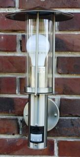 Außenlampe Edelstahl mit LED 7 Watt Außenleuchte Hoflampe IR Bewegungsmelder