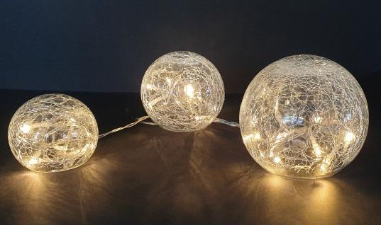 3 Kugeln aus Glas in Bruchglasoptik inklusive Lichterkette mit 24 LED und Timer