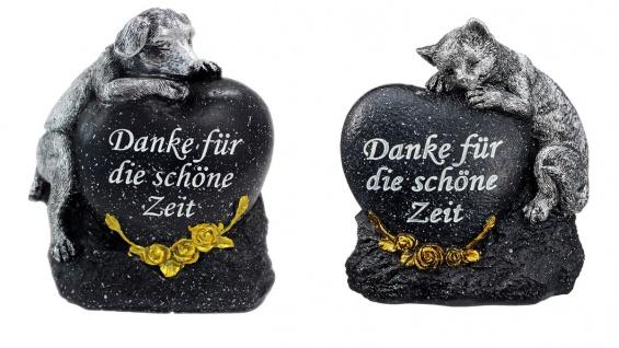 Grabdeko für Hund oder Katze mit Herz Spruch und Rosen Grabschmuck Gedenkstein