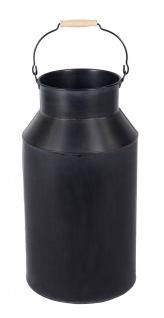 Milchkanne groß mit Henkel 57 cm Deko-Kanne Metallkanne mit Griff Vase Schirmständer Regenschirmständer schwarz