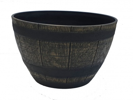 Pflanzkübel rund Fass Blumenkübel Weinfass-Optik Kunststoff halbiert Ø 32, 5 cm
