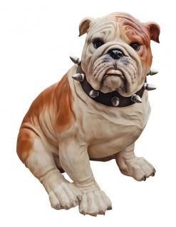 Deko-Figur Bulldogge XXL Skulptur Gartenfigur englisch Tierfigur Hund sitzend