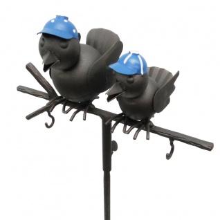 Gartenstecker 2 Vögel auf Ast Metall Meisenknödel Futterstation 22 x 10 x 120 cm