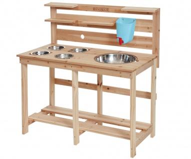 Matschküche für Kinder Holz 5 Waschbeckeneinlagen Edelstahl Wassertank Spielhaus