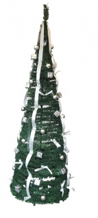 Künstlicher Weihnachtsbaum silber 190 cm pop Up Tannenbaum mit Schmuck 60 cm