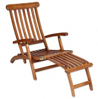 Deckchair Akazienholz FSC Sonnenliege Gartenliege Relaxliege 163x76x56 cm