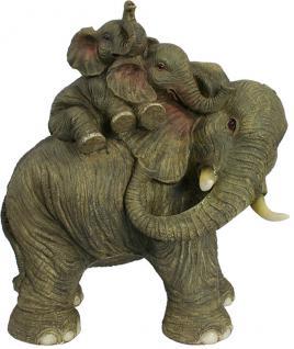 Elefantenmama mit Babys Skulptur Statue Tierfigur extravagante Dekoration