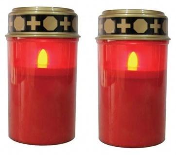 LED-Grablicht Ewiges Licht Grabkerze 2er Set mit Batterien, Flackereffekt