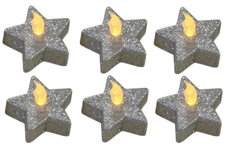 """6er Set Teelichter """" Stern"""" Glitzer silber, Weihnachtsdekoration, inkl. Batterien"""