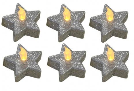 6er Set Teelichter Stern Glitzer silber, Weihnachtsdekoration, inkl. Batterien