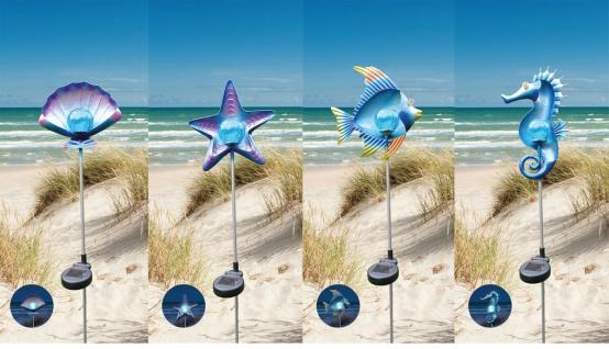 Solar Gartenstecker Metall Dekofiguren maritime Gartendeko versch. Motive