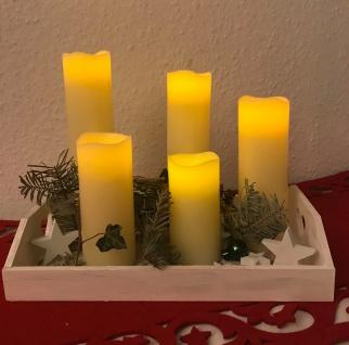 LED Kerzen 5 Stück Echtwachs creme flammenlos Batteriebetrieb verschiedene Höhe