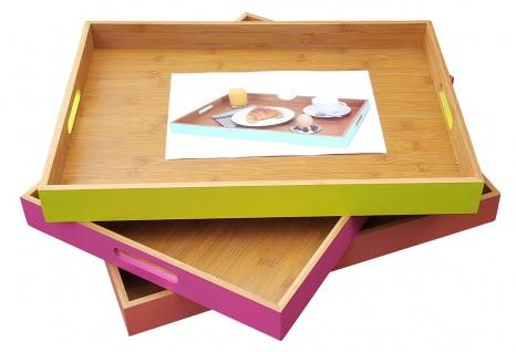 Bambus Tablett mit Griffen Serviertablett Frühstückstablett versch. Farben