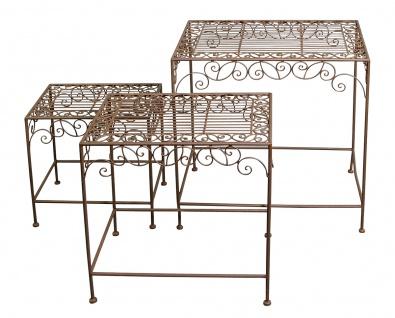 Eisentische 3 Stück Beistelltische Dekotische Kaffeetische Gartentisch Rostoptik
