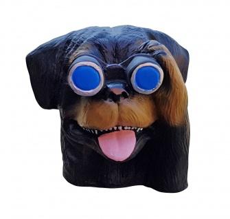 Hund mit Fernglas Gartenfigur Spanner für Innen und Außen Dekofigur Rotti