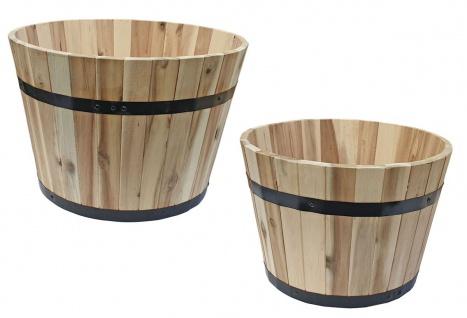 Pflanzkübel rund aus Akazienholz Holzfass Blumenkübel naturbelassen und robust